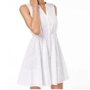 Maison Jules White Eyelet Fit & Flare Dress NWT